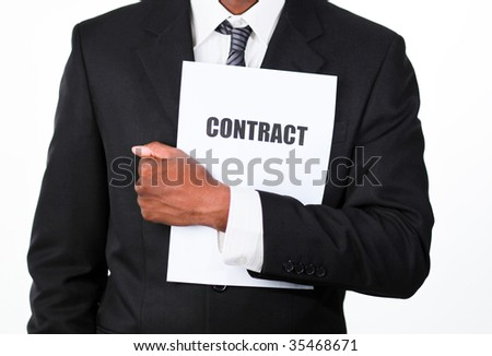 Close-up of an African businessman holding a contract isolated against white - stock photo