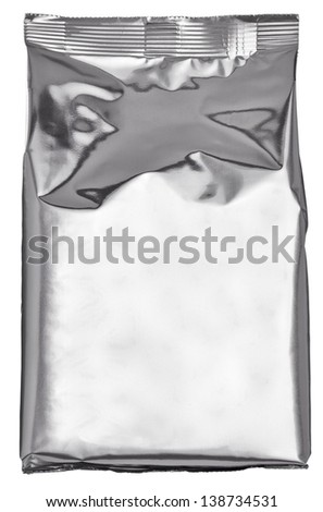 close up of an aluminum  bag on white background - stock photo
