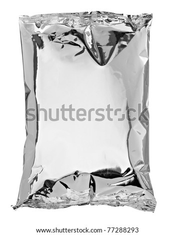 close up of an aluminum bag on white background with clipping path