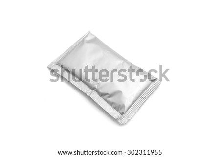close up of an aluminum bags on white background.  - stock photo