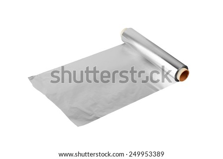 close up of an aluminum foil on white background  - stock photo