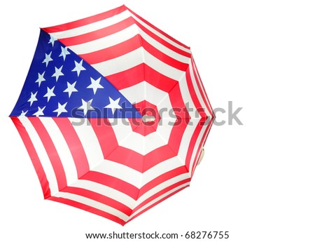 Close up of an American Flag Umbrella isolated on white
