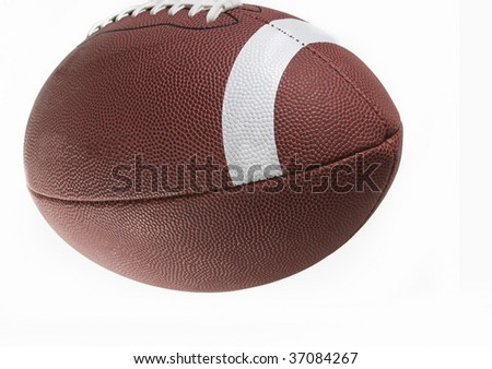 close up of an american football against a white background - stock photo