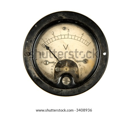 Close-up of an ancient voltmeter, isolated on white - stock photo