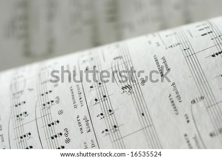 Close up of an antique music sheets - stock photo