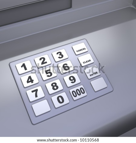 Close up of an ATM machine. Keyboard detail. - stock photo