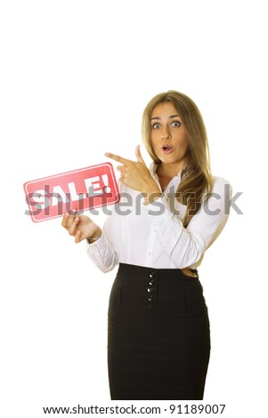 Close-up of an attractive business woman holding a card sale. Isolated on a white background - stock photo