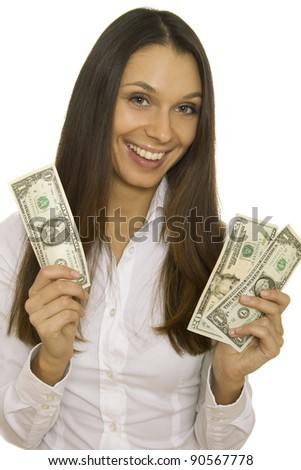 Close-up of an attractive young business woman holding dollars. Isolated on white background