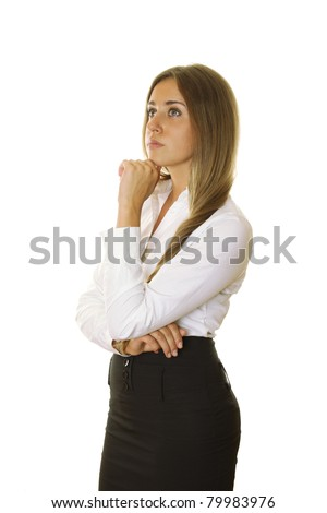 Close-up of an attractive young businesswoman standing sideways and looking to the side, propping up the head with her hand. isolated - stock photo