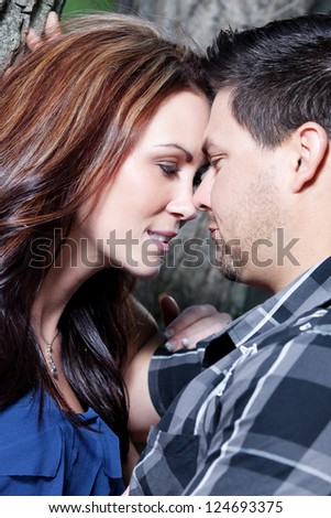 Close-up of an attractive young couple. - stock photo