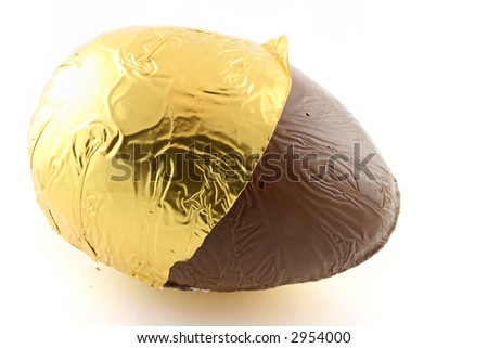 Close up of an easter egg with foil back - stock photo