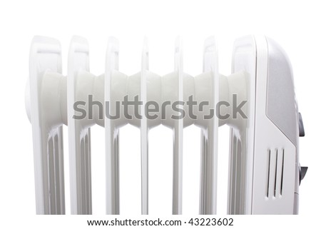 close up of an electric heater. Isolated with clipping path - stock photo