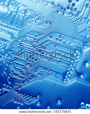 Close up of an electronic circuit board - stock photo