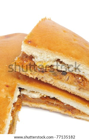 close up of an empanada gallega, a typical cake from Galicia, Spain - stock photo