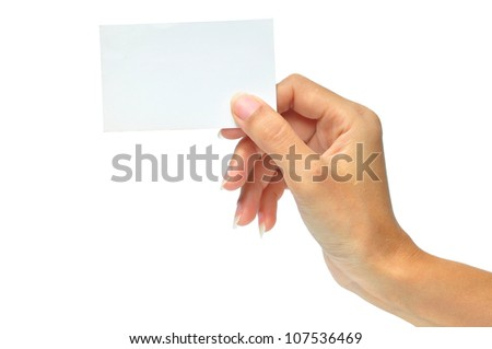 Close-up of an empty business card in a woman's hand isolated on white. - stock photo