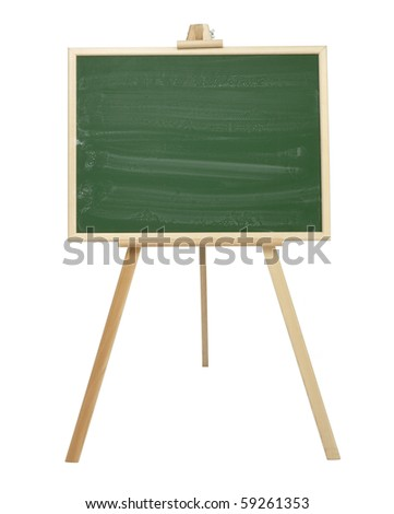 close up of an empty  chalk board on tripod - stock photo