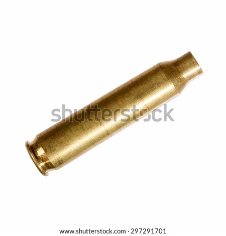 Close-up of an empty rifle bullet cartridge. - stock photo