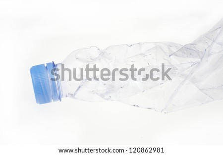 close up of an empty used plastic bottle on white background with clipping path