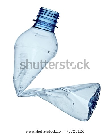 close up of an empty used plastic bottle on white background with clipping path - stock photo