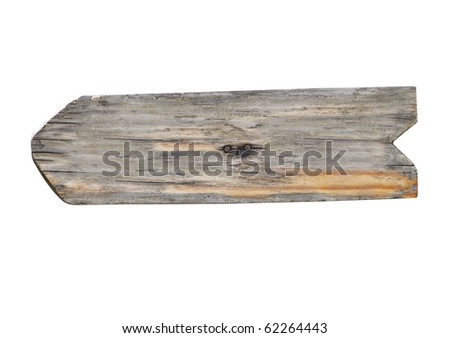 close up of an empty wooden sign on white background with clipping path - stock photo