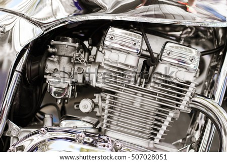 Closeup Shot American Muscle Cars Engine Stock Photo