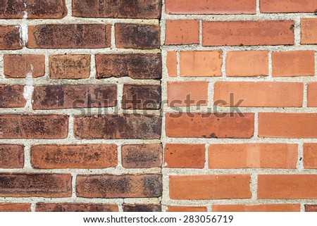 Close Up of an Exterior Wall with Old and New Bricks