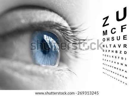 Close up of an eye and vision test chart - stock photo