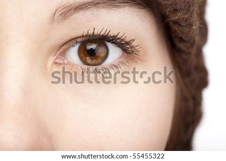 Close-up of an female brown eye. - stock photo