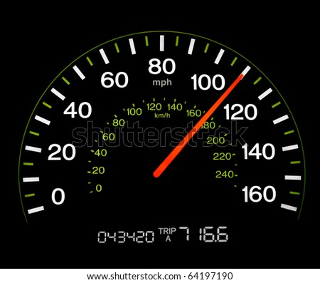 Close up of an illuminated speedometer reading 110 MPH.