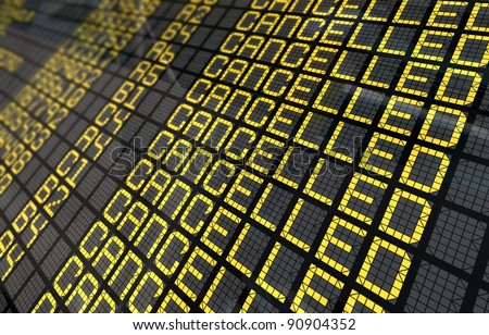 Close-Up of an international airport board panel with all flights cancelled - stock photo