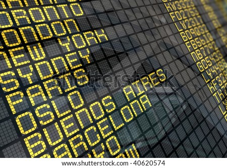Close-Up of an international airport board panel with environment reflection - stock photo