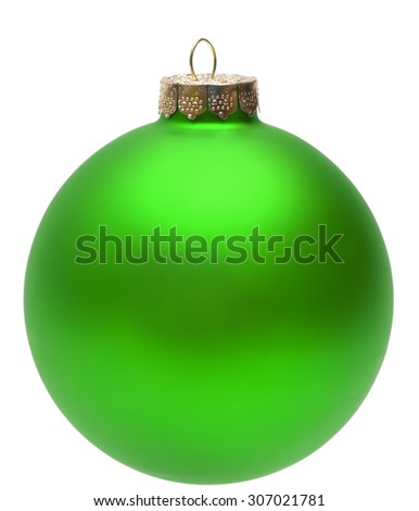 Close-up of an isolated green christmas ball.
