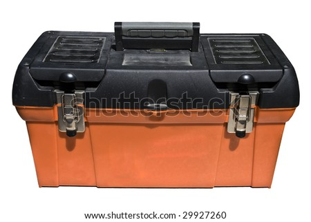 Close-up of an isolated orange and black toolbox over white. - stock photo