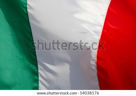Close-up of an Italian Flag Fluttering in the Breeze
