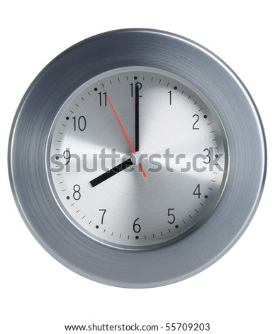 Close up of an metal style clock on white background