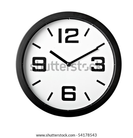 close up of an office clock on white background with clipping path - stock photo
