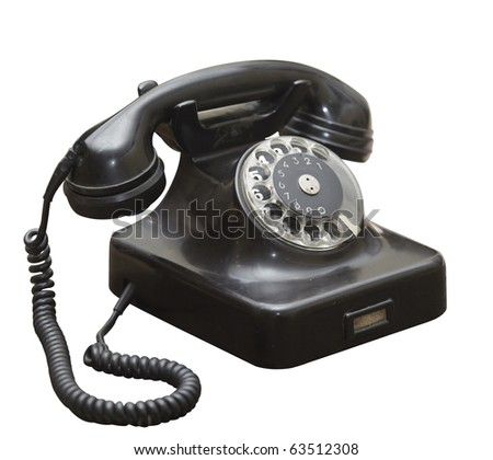 close up of  an old antique black phone on white background  with clipping path - stock photo