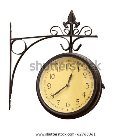 close up of an old antique clock on white background  with clipping path - stock photo