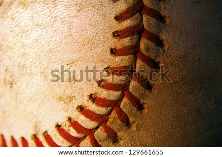 Close up of an old baseball - stock photo