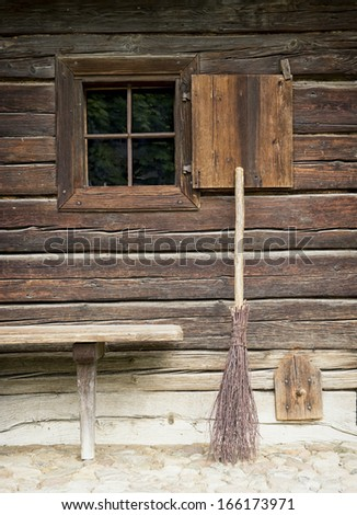 close-up of an old bavarian log cabin - stock photo