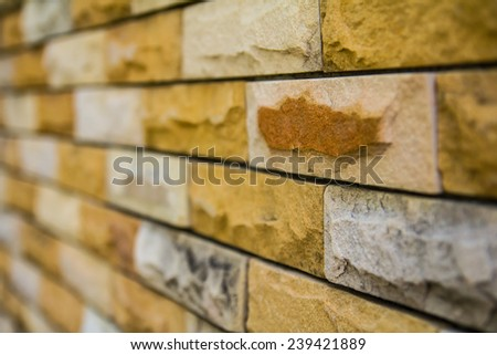 Close up of an old brick different from those of its side walls blur. - stock photo