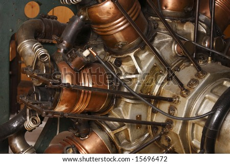 Close-up of an old 9-cylinder airplane engine.