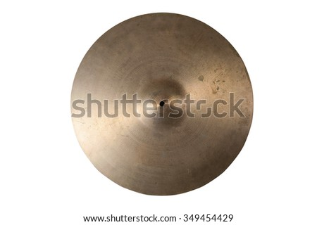 Close up of an old cymbal on isolated background. - stock photo