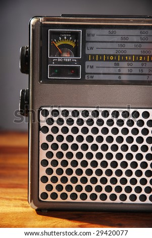 Close-up of an old-fashioned radio