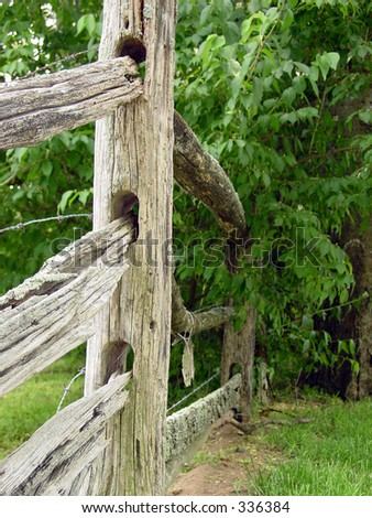 Close up of an old fence - stock photo