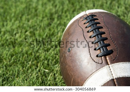 Close up of an old football background - stock photo
