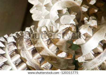 close-up of an old oil drill - stock photo