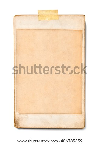 close up of  an old photo on white background - stock photo