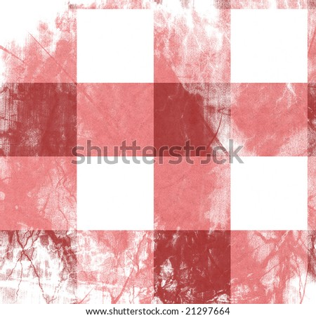 close up of an old red picnic cloth - stock photo