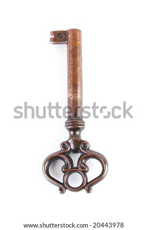 Close up of an old rusty key isolated on white background - stock photo